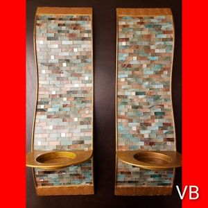 Mosaic Wave Pillar Sconces by Pier 1, Set of 2.